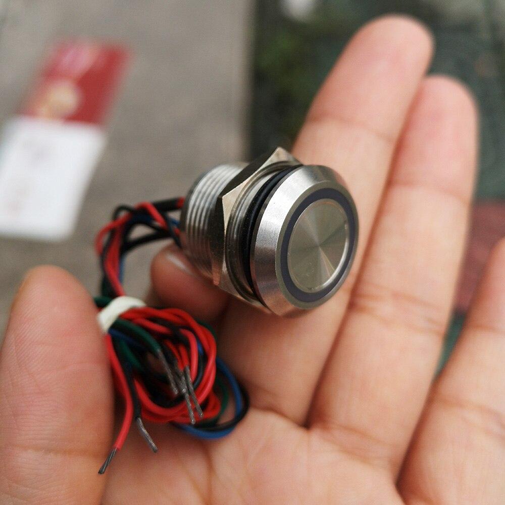 19mm chwilowy przełącznik piezoelektryczny ze stali nierdzewnej pierścień illuminated czerwony/zielony/niebieski 12V fazowania głowy 3.0mm normalnie otwarty