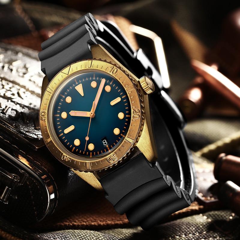 ADDIES Germany CuSn8 Bronze NH35 Mechanical Men's Watches pot lid bubble mirror sapphire Bronze watch Automatic Watch Dive 200m