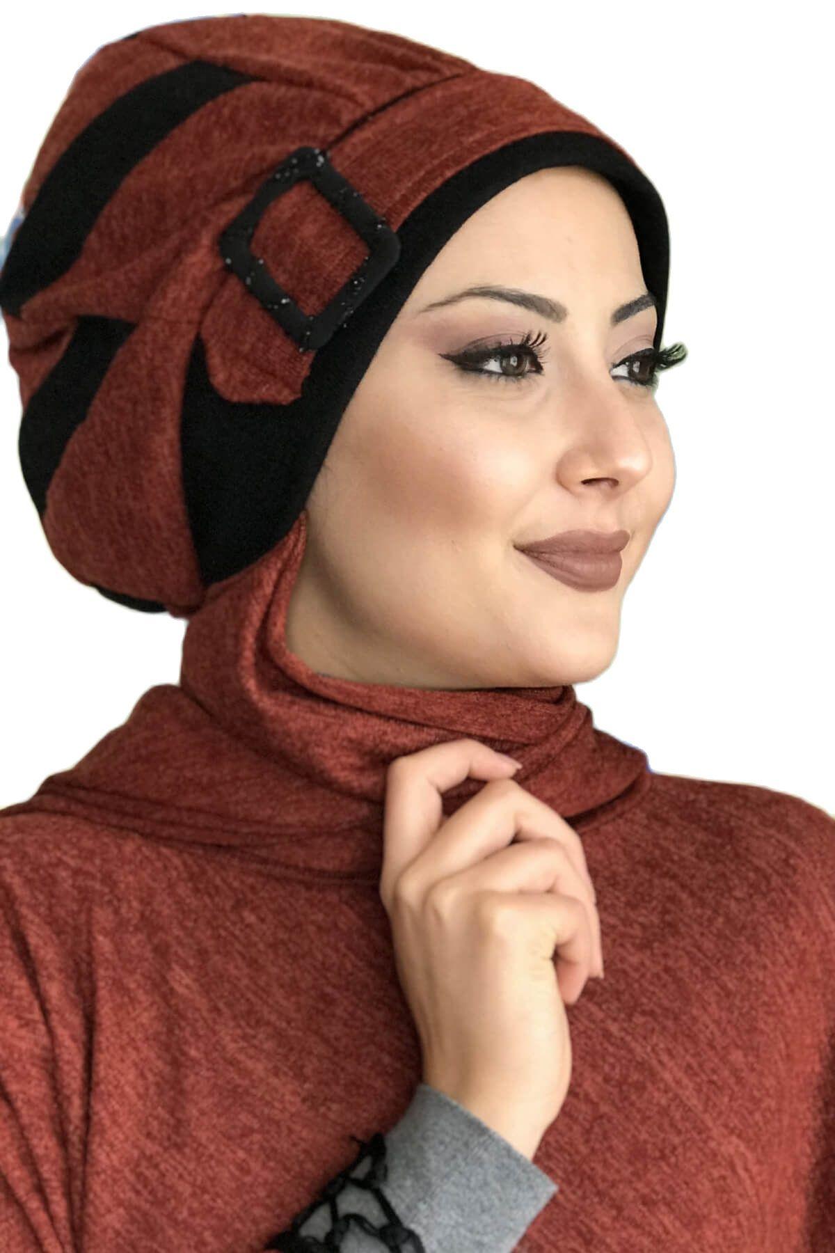 موضة جديدة 2021 طرحة نسائية قبعة بونيه الحجاب الملابس الإسلامية سلطنة أحمر أسود شريط جاهزة شال