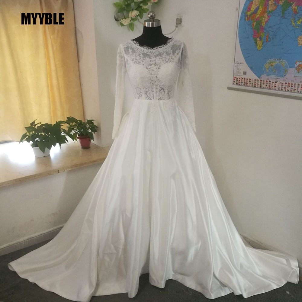 Get MYYBLE Physical pictures Long Sleeve Stain Wedding Dresses Bride A-Line wedding gown Lace Vestido de Noiva Casamento cheap
