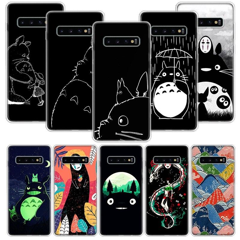 Studio Ghibli Totoro negro oscuro caso para Samsung Galaxy S20 Ultra Nota 10 9 8 S10E S9 S8 J4 J6 J8 Plus + Pro S7 S6 teléfono Co