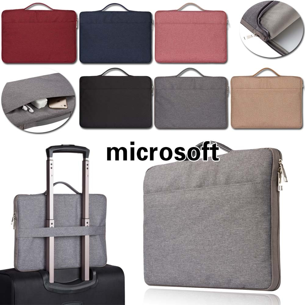Laptop Handbag  for Microsoft Surface Go 2018/Surface 3 2015/Surface Book 2/Surface (2/2 RT/RT) Solid Color Side Zip Laptop Bag