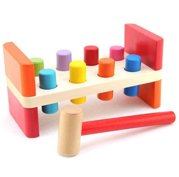 Juguetes de madera para niños/color de doble cara/golpe/8 bloques de construcción cilíndricos juego/MESA de apilamiento/rompecabezas educación temprana