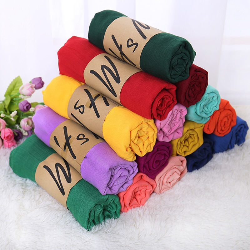 AliExpress - 180*85cm fashion Women Solid Cotton Linen Scarf Long Ethnic style Shawl hot sale Autumn and winter blue purple Female Scarves