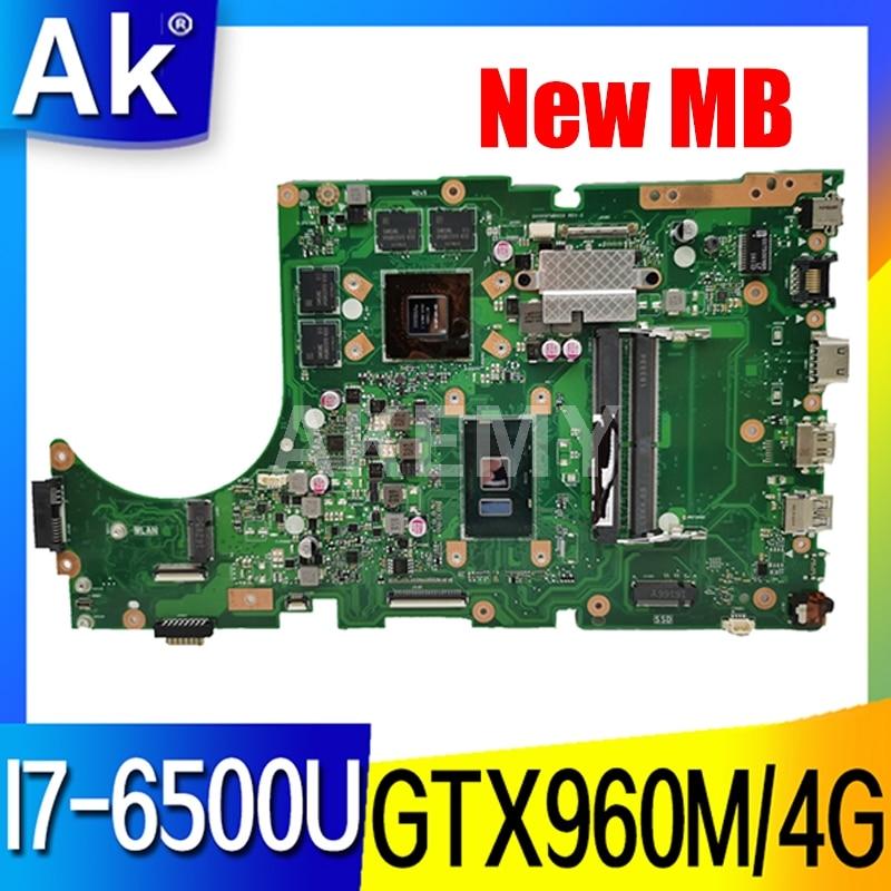 Para For Asus X756UW X756UQK X756UQ X756UR X756UWK X756UV X756UXM X756U placa base portátil I7-6500U GTX960M/4GB DDR4