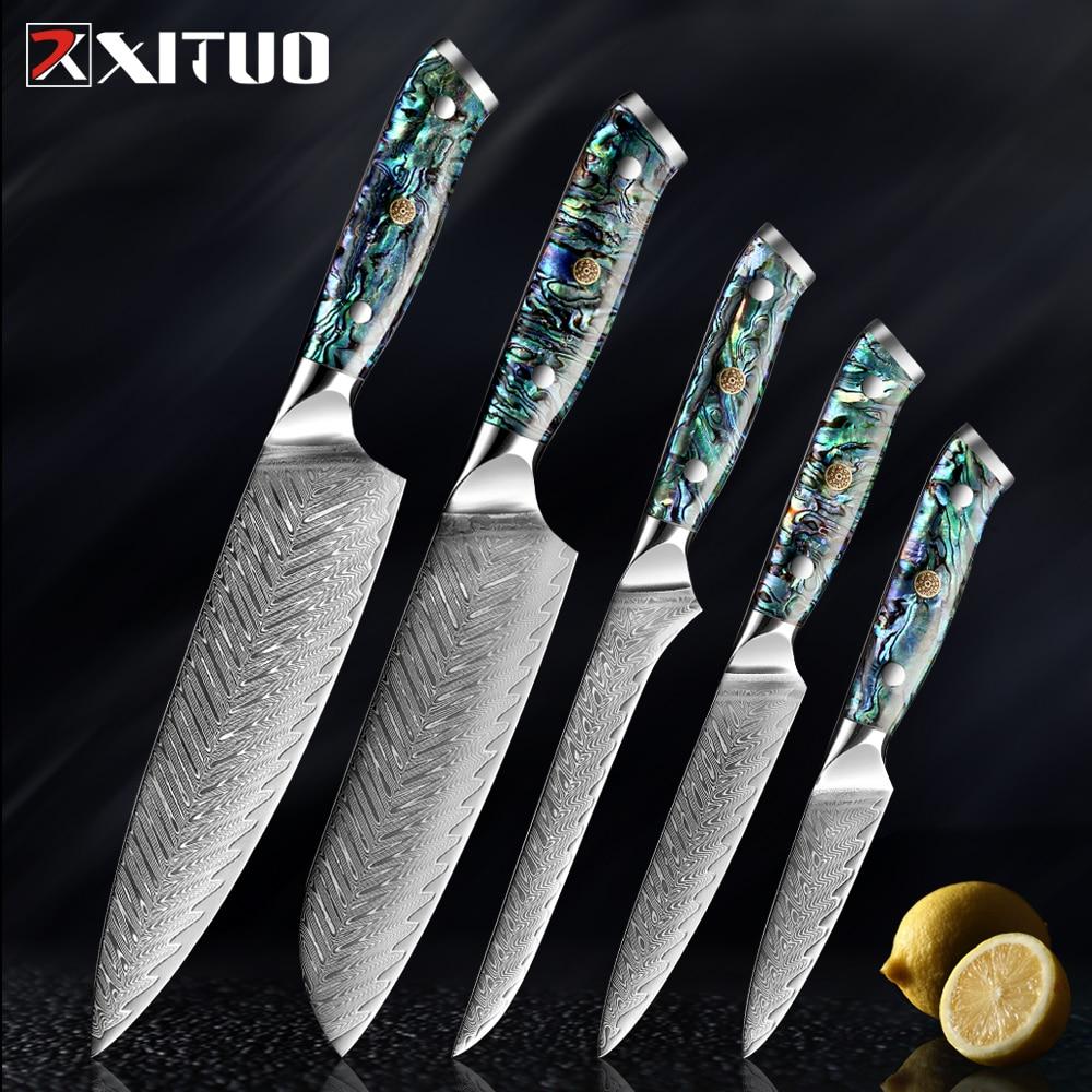 XITUO 1-5 قطعة سكين دمشق الصلب مجموعة أدوات المطبخ الطبخ سكين الطاهي Santoku اليابانية سكين نزع العظم مقبض قذيفة رائعة