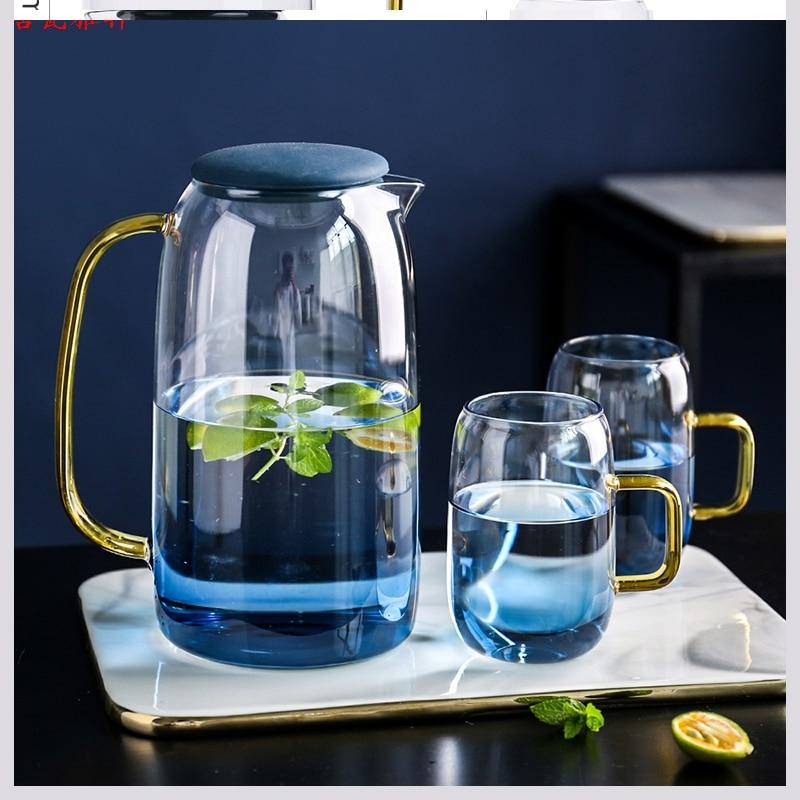 النمط الياباني الزجاج مبرد مياه باردة المنزلية مقاومة درجات الحرارة العالية سعة كبيرة كوب ماء بارد إبريق الشاي وعاء