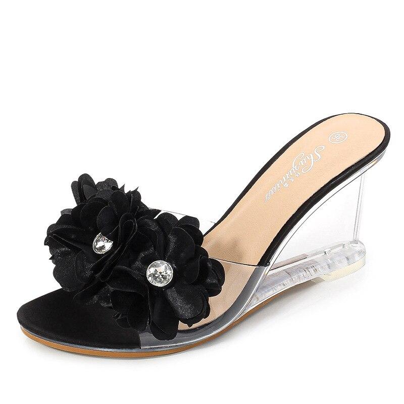 Nuevos zapatos de tacón alto Mclubgirl veraniegos y versátiles para mujer, Sandalias de tacón Simple con flores y tacones transparentes LFD