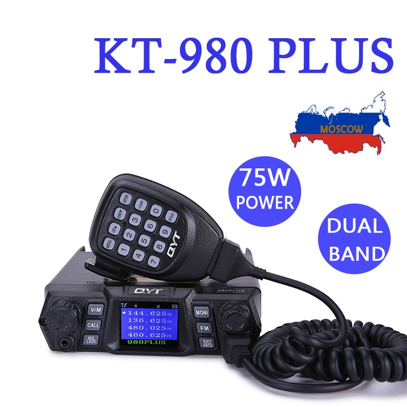 QYT KT-980Plus 980 PLUS Super High Power 75W(VHF)/55W(UHF) Dual Band Mobile Radio Station for Car Vehicle can usb charger