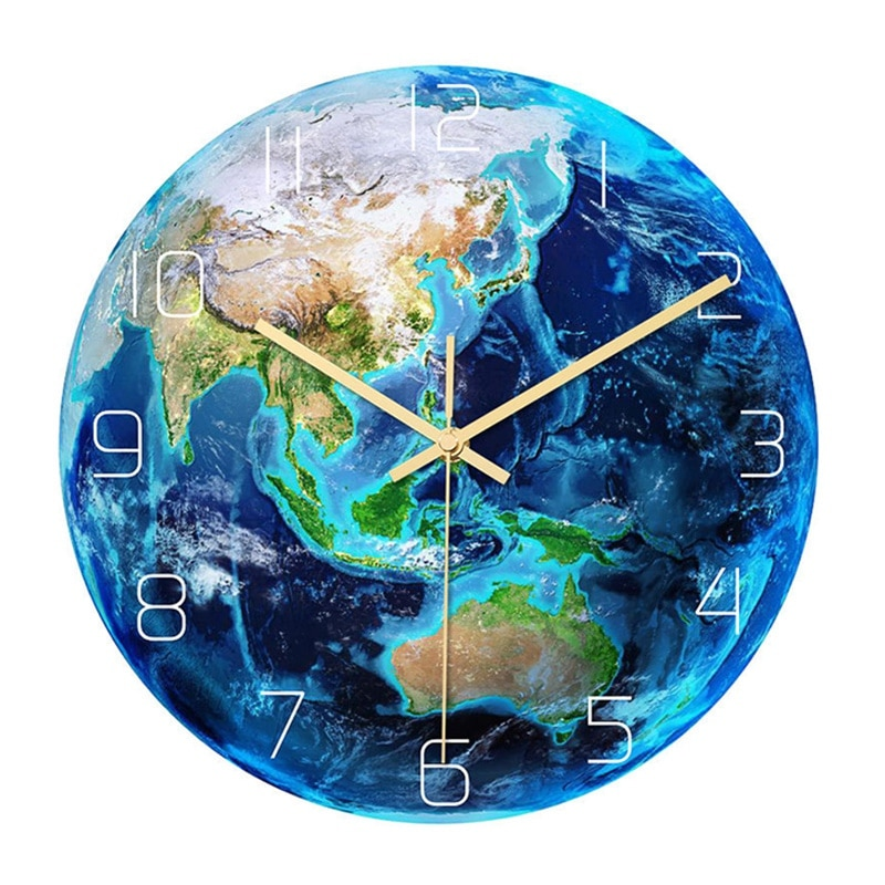 Luminous Earth Wall Clock Planet Print Clock Study Room Bedroom Living Room Decoration for Kids Baby Room
