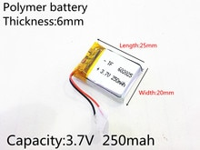 602025 3.7V 250mAh 062025 Lithium polymère li-po Li ion piles rechargeables pour Mp3 MP4 MP5 GPS PSP mobile bluetooth
