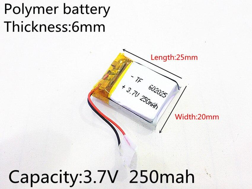602025 de 3,7 V 250mAh 062025 de polímero de litio Li-Po li recargable de ion de las células de las baterías para Mp3 MP4 MP5 GPS PSP móvil bluetooth