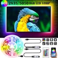 Bluetooth APP светодиодный светильник полоски 5050 2835 RGB 5V USB Инфракрасный контроллер гибкий украшения ТВ PC задняя крышка светильник лампа люминесц...