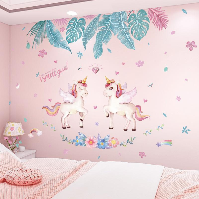 AliExpress - Large Wall Sticker INS Leaves Flamingo Unicorn Wall Decal For Bedroom Living Room Kids Room Nursery Wall Decor DIY Home Decor