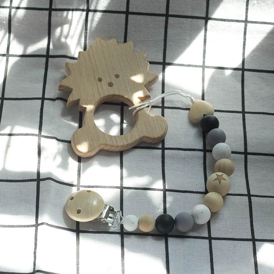 Cuentas de madera bebé Natural chupete cadena Clips madera pezones Crochet Dummy hecho a mano chupetes seguro Anti-gota cuerda titular