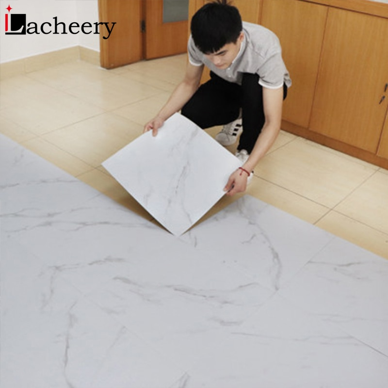 Modern Thick Self Adhesive Tiles Floor Stickers Marble Bathroom Ground Wallpapers PVC Bedroom Furnit