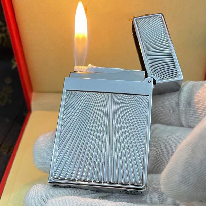 100% brand new retro DuPont bright sound lighter Seiko manufacture windproof copper body cigarette lighter with box enlarge