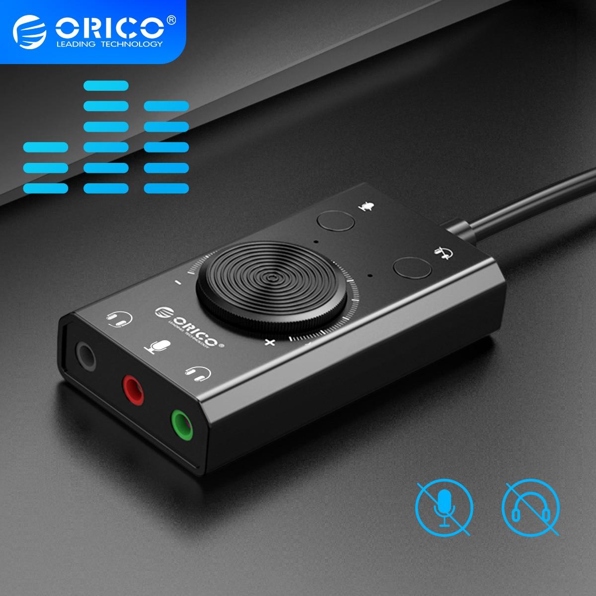 Внешняя звуковая карта ORICO, USB-звуковая карта с 3,5 мм выходами для колонок/наушников и микрофона, с колесом управления громкостью, кнопками от...