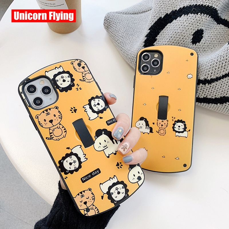 LinXiang zoológico Park León Tigre cebra Invisible anillo soporte funda posterior para móvil para iphone 7 8 Plus X XR XS Max 11 Pro