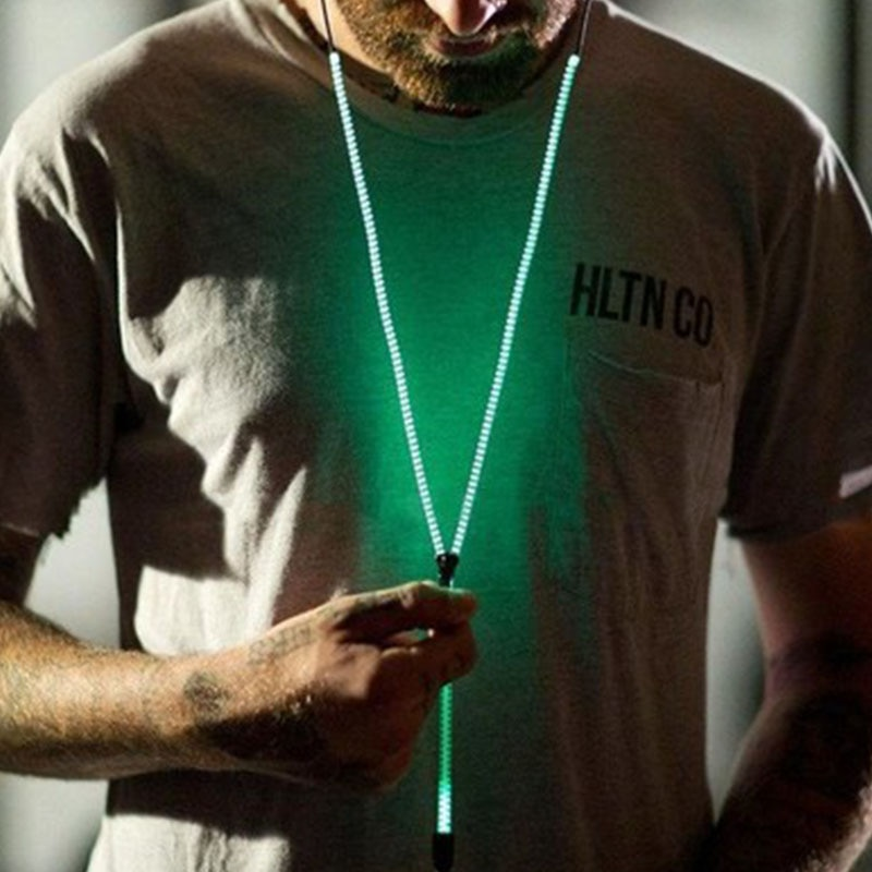 Fashion Glow In The Dark Metal Earphones Earbuds with Mic Glowing Zipper Headset Luminous Light Stereo Handsfree Earphone