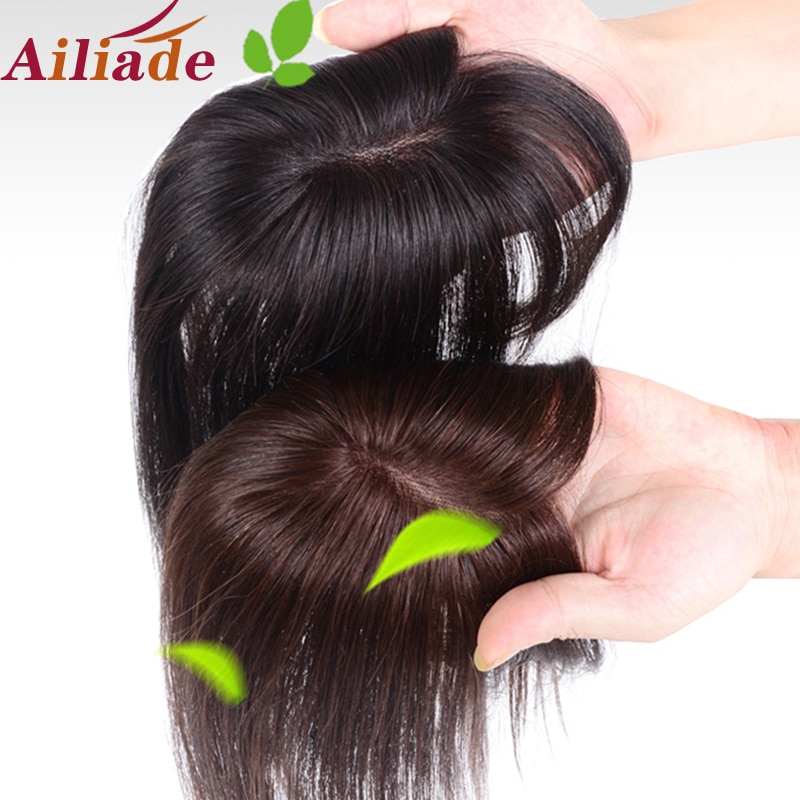 AILIADE 100% Human hair 5*8 Toupee Hair Extension Clip in Topper hair with bangs straight top hair hairpiece For Women