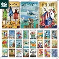 Putuo     panneau metallique de bienvenue  Vintage  decoration murale  maison douce  jardin familial  ferme  cabane de plage