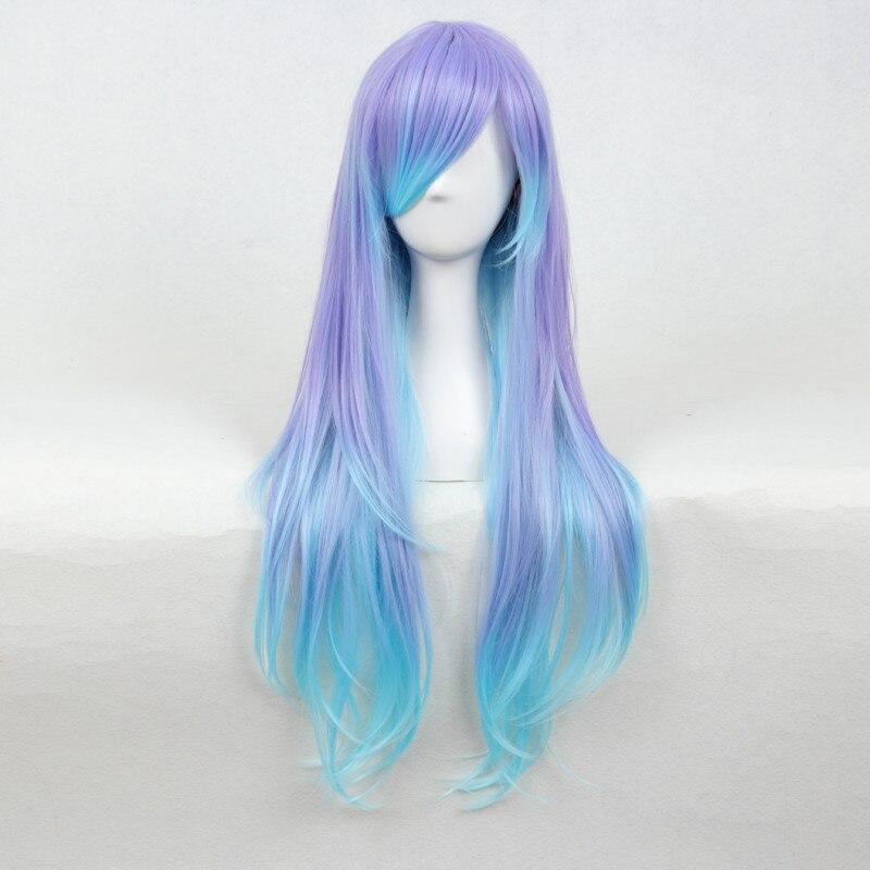 Anime demônio slayer kimetsu não yaiba tokitou muichirou cosplay peruca longo gradiente preto azul rabo de cavalo cabelo sintético + peruca boné
