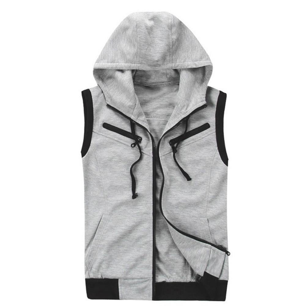 New mens monochromatic hooded vest zipper pocket sleeveless vest jacket Casual Sleeveless sport Vest Winter Clothes fashion ves
