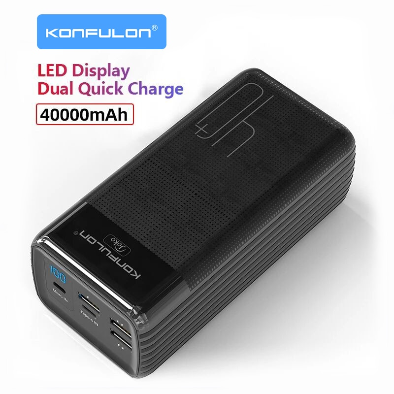 LED Type C Input/Output Powerbank 40000 mah Two Way Quick Charge Power Bank 15W PD External Battery