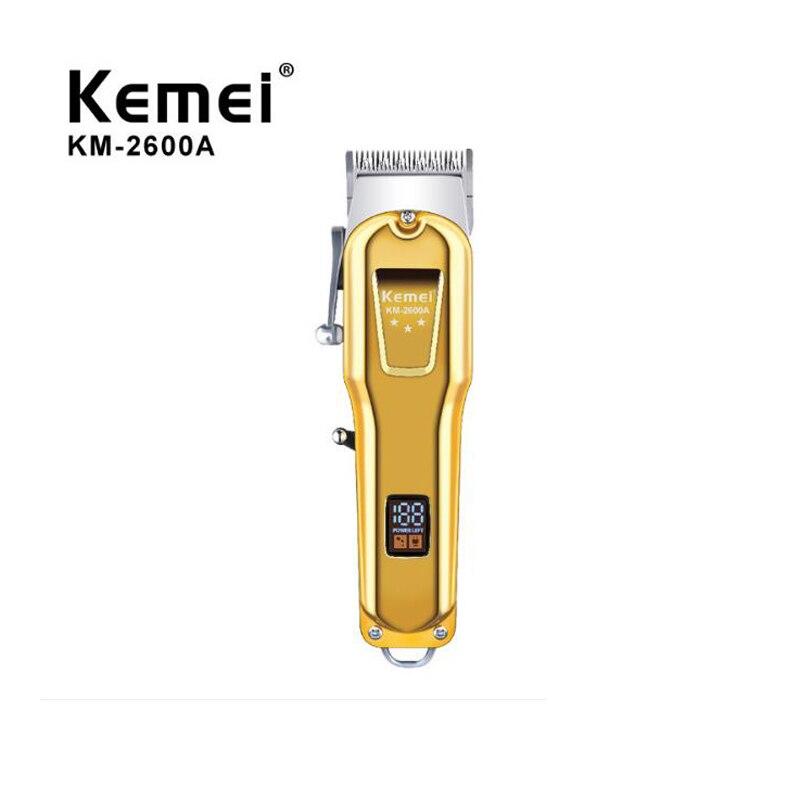 Kemei الشعر المتقلب KM-2600A اللاسلكي المهنية USB قابلة للشحن الشعر المقص حلاقة آلة LCD عرض المعادن الجسم