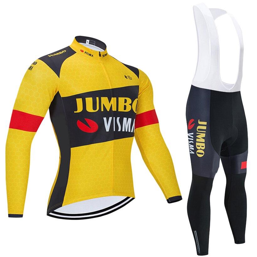 JUMBO VISMA-Maillot de Ciclismo para hombre, Ropa de Ciclismo de lana térmica,...