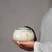chinese style puer tea box organizer ceramic tea caddy tea jar container storage of tea bags box caixa de cha teaware bc50cg