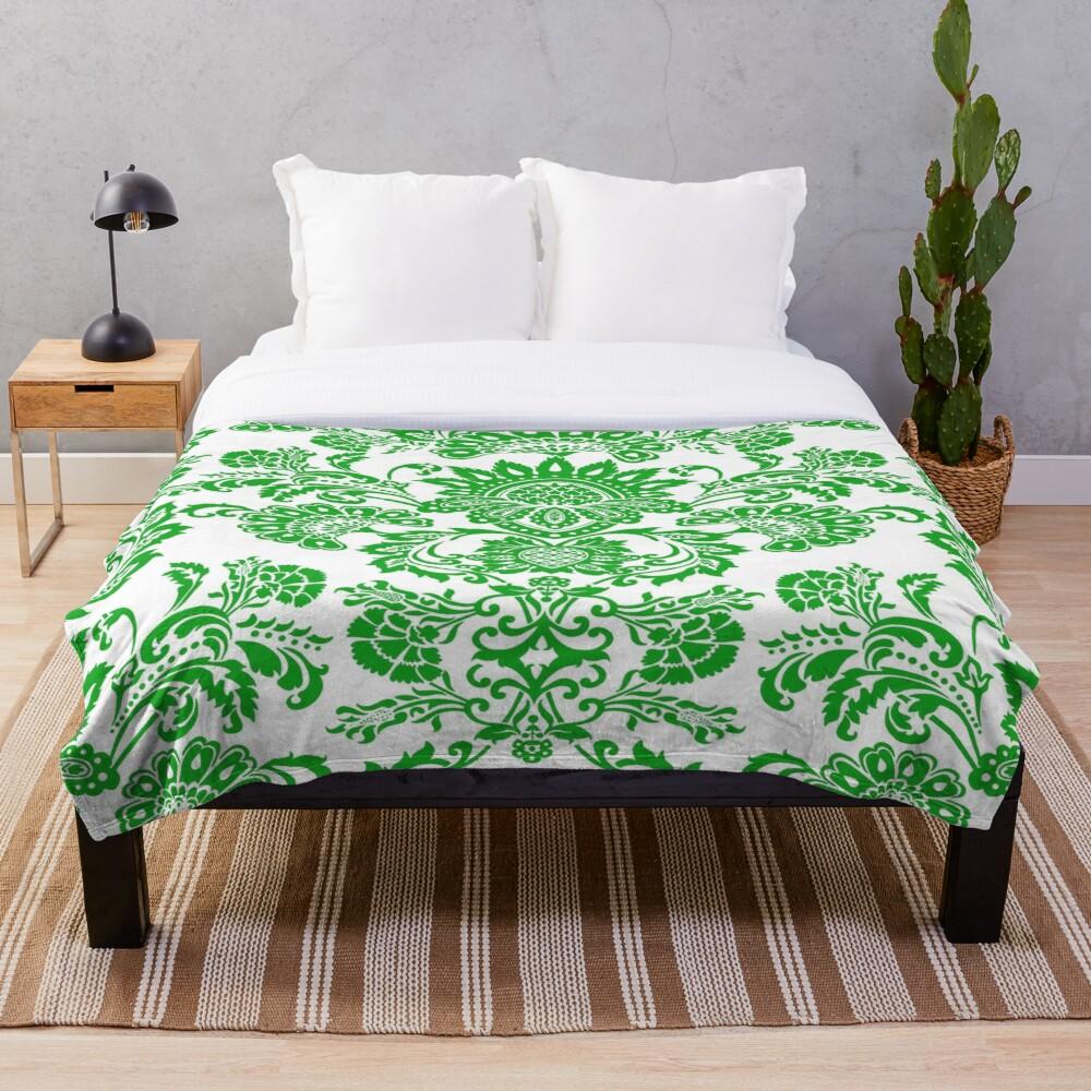 Soft Blanket for Bed Sherpa Flannel Fleece Blanket Home Travel Sofa Soft Throw Blanket Damask In Mint Green