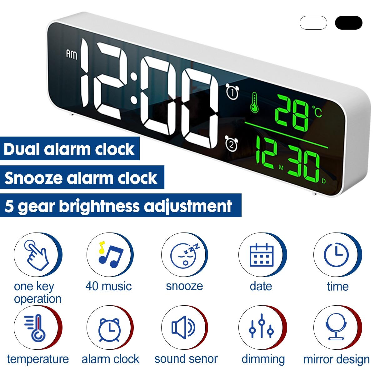 LED Digital Alarm Clock Dual Mode Bedrooms Snooze Electronic USB Desktop Mirror Clocks Home Table Decor 5 Brightness Adjustment