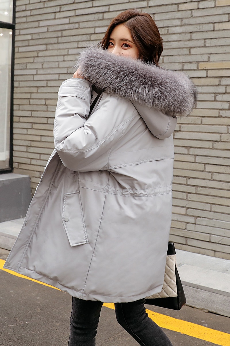 Puffer down coat jacket woman 2021 female lady thick warm winter clothing parka real fur hood hat maxi long grey black oversize