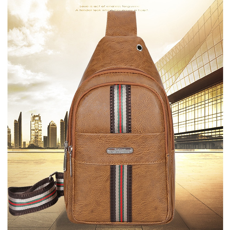 European and American fashion retro men's straddle chest bag outdoor leisure simple Pu one shoulder