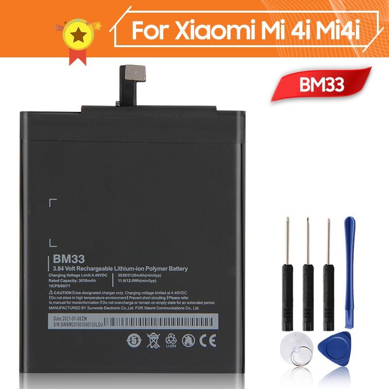 Аккумулятор BM33 для телефона Xiao mi 4i Mi4i 3120 мАч BM33, сменный аккумулятор + инструмент
