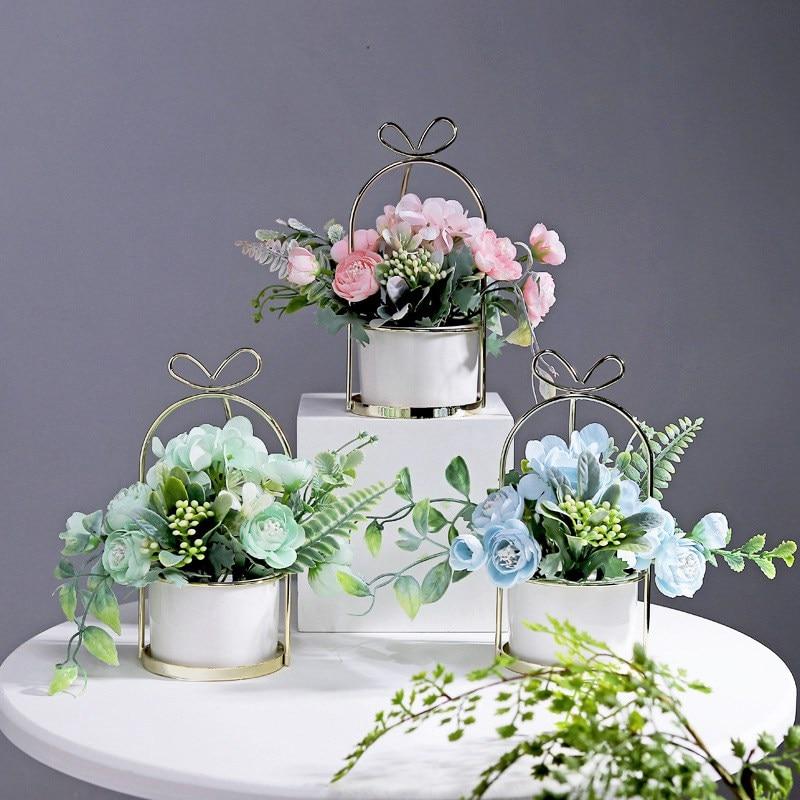 Macetas de hortensia modernas con soportes de Metal dorado, adornos decorativos de mesa, decoración del hogar