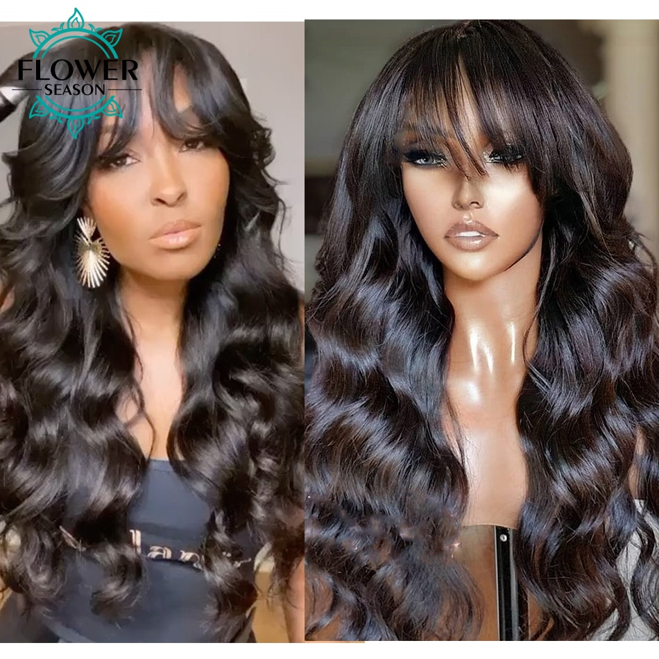 Wavy Human Hair Wigs 180 Density For Black Women Body Wave Wig With Bangs Scalp Top Full Machine Made Wig Indian FlowerSeason