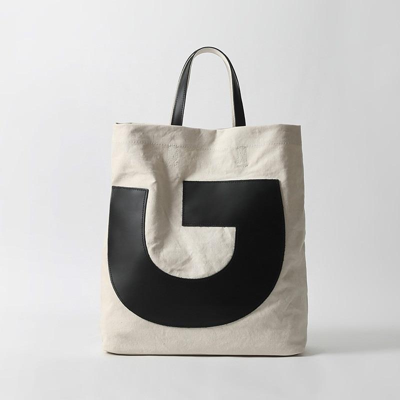 New Oblique cross bag ladies first layer cowhide canvas bag simple handbag large capacity shoulder bag sturdy shopping bag