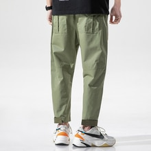 Men 2021 Cotton  Lightweight Stitching Casual Pants Men Straight Loose Fit Ankle Length Pants Pocket