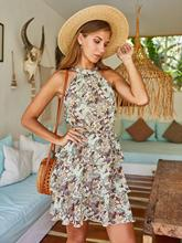 Women Summer Beach Mini Sundress Ladies Casual Sleeveless  Boho Short Dress Party Dress Women Casual Summer Halter Neck Printed