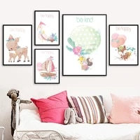 balloon wooden boat swan hedgehog fox wall art canvas painting nordic posters and prints wall pictures for baby kids room decor