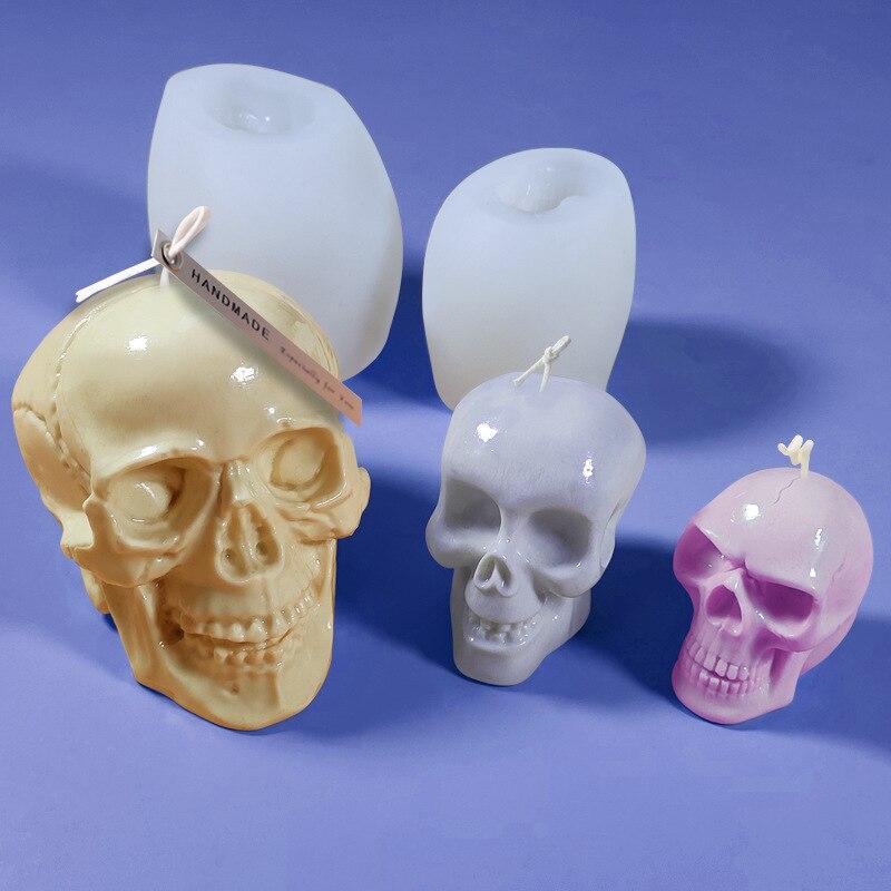 Diy crânio cubo de gelo molde de silicone halloween páscoa aroma vela que faz frascos vela molde artesanal sabão molde de gesso