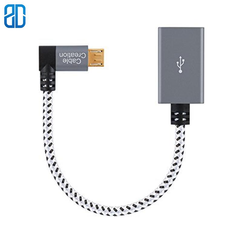Ángulo Micro USB OTG adaptador trenzado Micro USB a USB en movimiento...