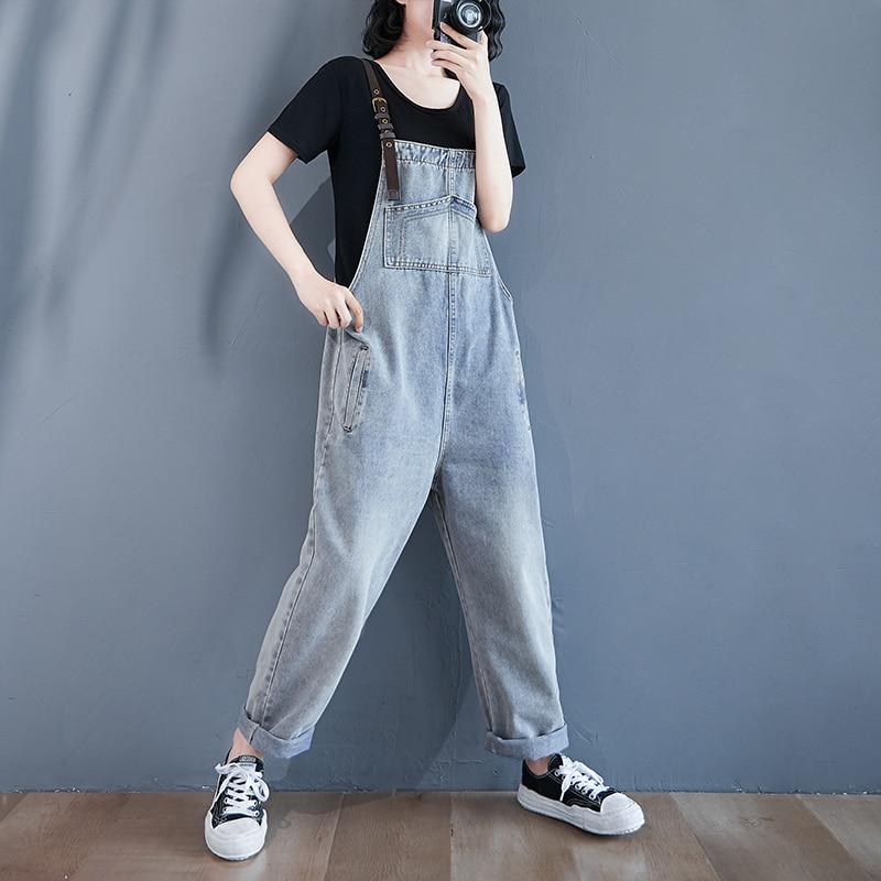 #1550 High Waisted Jeans Jumpsuit Loose Straight Denim Overalls For Women Casual Vintage Long Denim Jumpsuit Ladies Pockets Tide