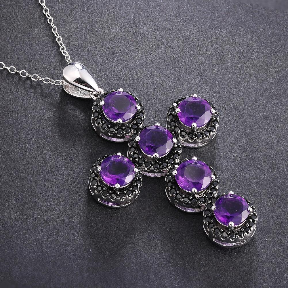 GZ ZONGFA Natural Amethyst Black Spinel Gemstone Silver cross pendant 925 Sterling Silver Custom Necklace Fine Jewelry