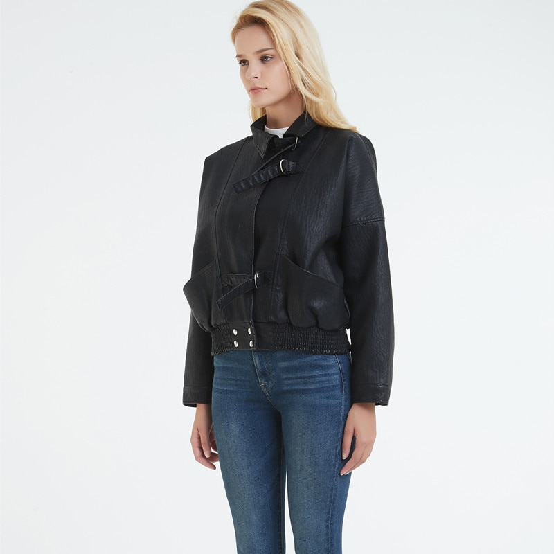 2019 new Leather Jacket Female Korean version of the loose Biker Jacket PU leather women Short Black Jacket Faux Leather Coat enlarge