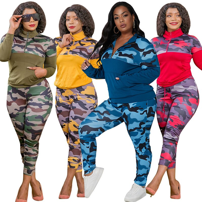 Plus Size S-5XL 2 Piece Outfits for Women Camouflage Printed Stretch Casual Joggor Fitness Matching Set Wholesale Dropshipping