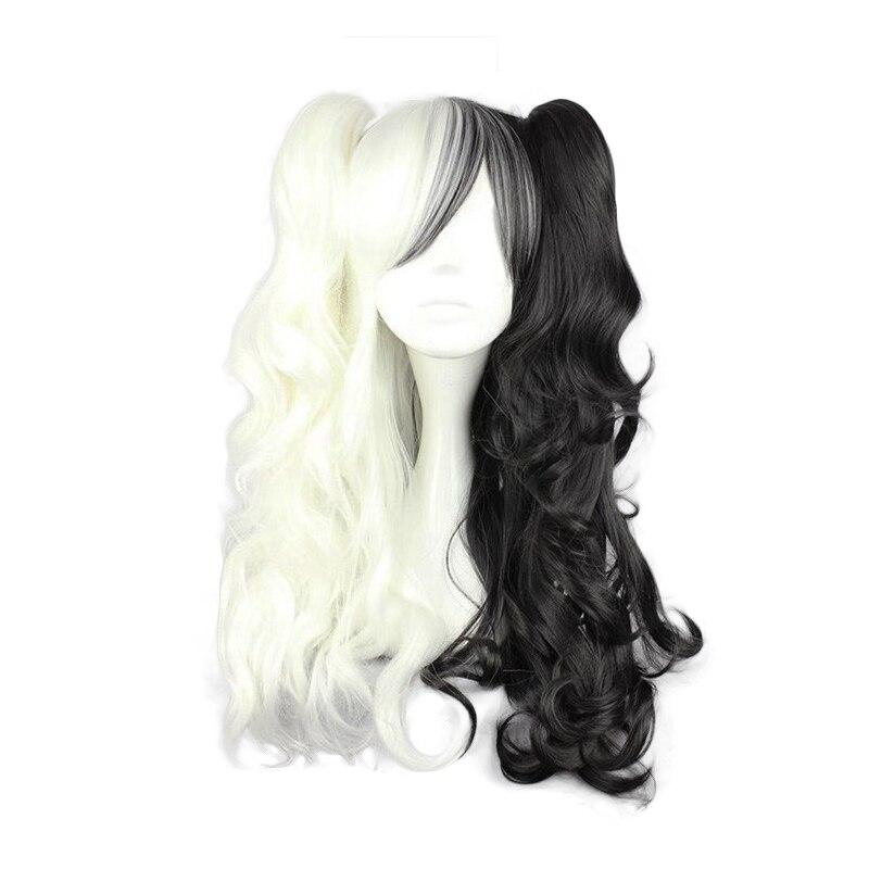 2020 Dangan Ronpa Monokuma Long Ponytails Curly Wig Cosplay Costume Danganronpa Heat Resistant Synthetic Hair Women Cosplay Wigs